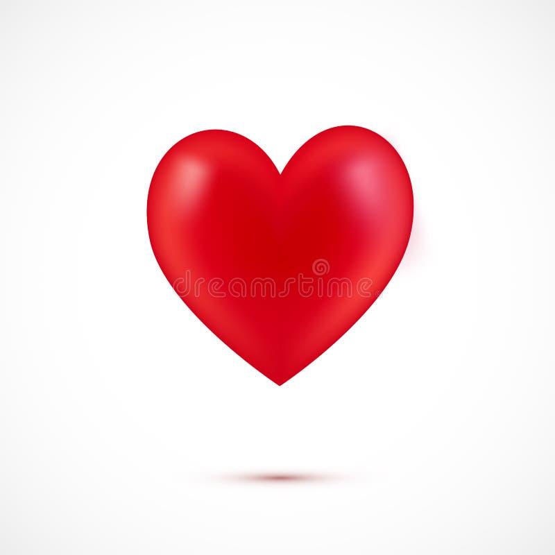 τρισδιάστατη ρεαλιστική, κόκκινη καρδιά που απομονώνεται στο άσπρο υπόβαθρο ελεύθερη απεικόνιση δικαιώματος