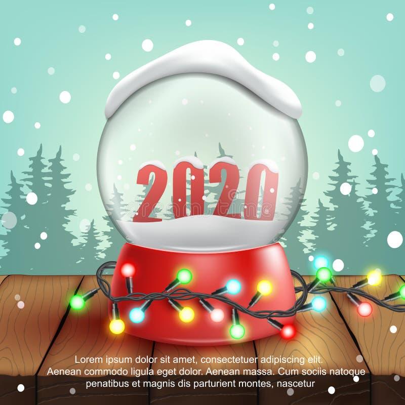 τρισδιάστατη ρεαλιστική σφαίρα χιονιού με το κείμενο 2020 διάνυσμα απεικόνιση αποθεμάτων