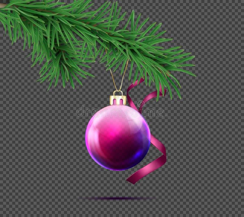τρισδιάστατη ρεαλιστική σφαίρα Χριστουγέννων με τον κλάδο έλατου στοκ εικόνες