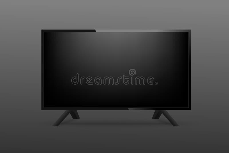 τρισδιάστατη ρεαλιστική TV προτύπων στο μαύρο υπόβαθρο διάνυσμα ελεύθερη απεικόνιση δικαιώματος