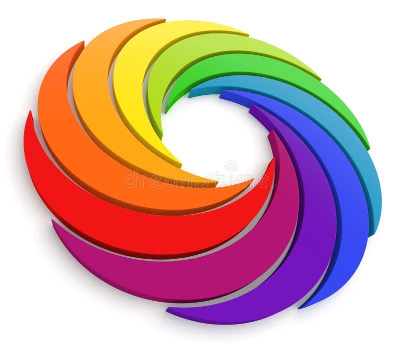 τρισδιάστατη ρόδα δίνης χρώματος ελεύθερη απεικόνιση δικαιώματος