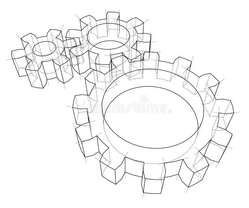 τρισδιάστατη ρόδα εργαλ&epsil διάνυσμα διανυσματική απεικόνιση