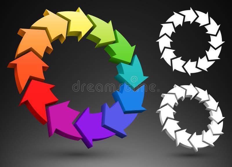τρισδιάστατη ρόδα χρώματος βελών διανυσματική απεικόνιση
