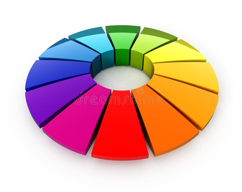τρισδιάστατη ρόδα χρώματο&sigma διανυσματική απεικόνιση