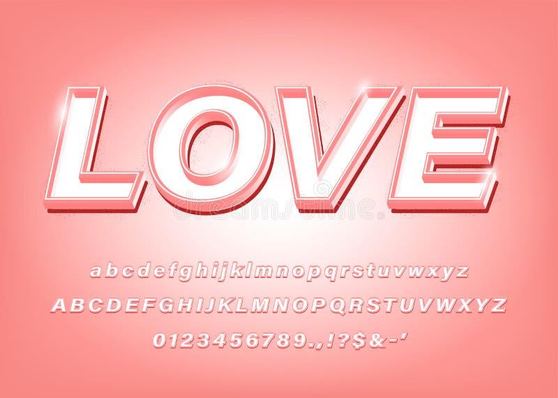 τρισδιάστατη ρόδινη τολμηρή πηγή αγάπης αλφάβητου διανυσματική απεικόνιση
