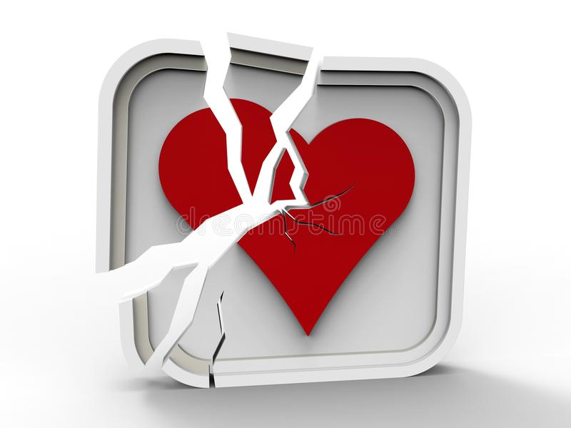 τρισδιάστατη σπασμένη απεικόνιση καρδιών ελεύθερη απεικόνιση δικαιώματος