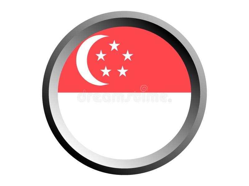 τρισδιάστατη στρογγυλή σημαία της Σιγκαπούρης απεικόνιση αποθεμάτων