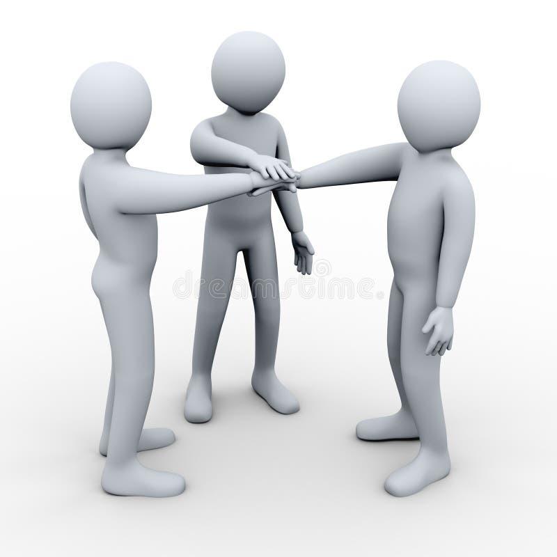 τρισδιάστατη συνεργασία τριών φίλων ελεύθερη απεικόνιση δικαιώματος