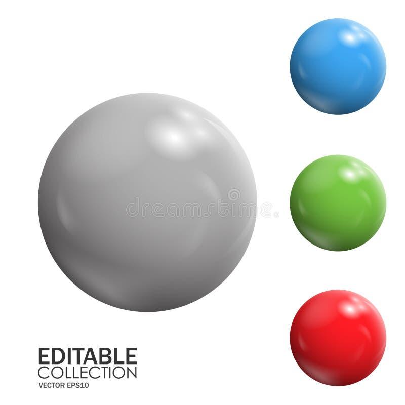 Τρισδιάστατη σφαίρα Editable διανυσματική απεικόνιση