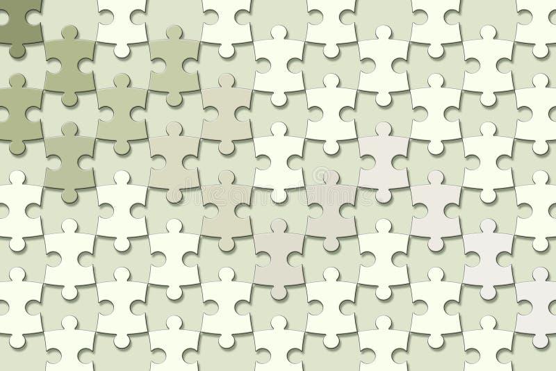 τρισδιάστατη σύσταση ταπετσαριών, κομμάτια γρίφων τορνευτικών πριονιών στο πράσινο υπόβαθρο χρώματος κρητιδογραφιών ελεύθερη απεικόνιση δικαιώματος