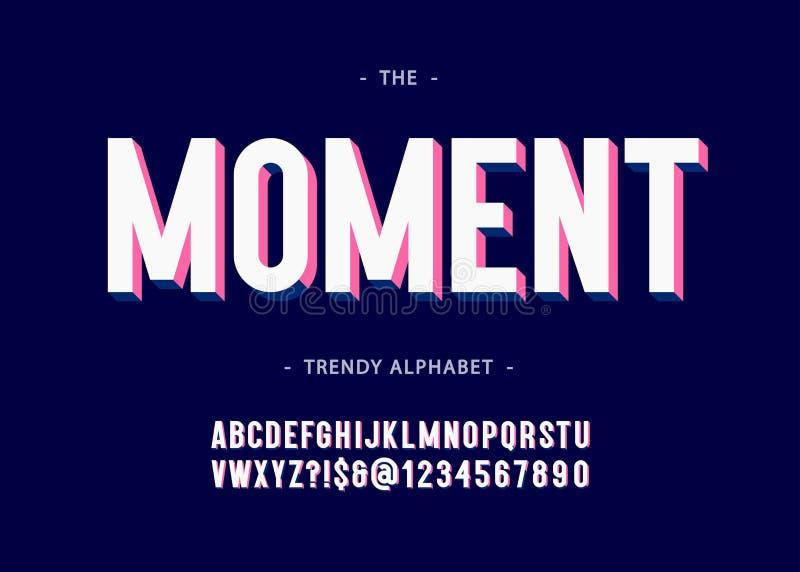 Τρισδιάστατη τολμηρή τυπογραφία αλφάβητου στιγμής χωρίς το ζωηρόχρωμο ύφος πατουρών διανυσματική απεικόνιση