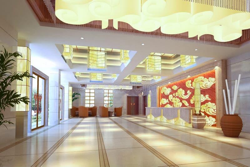 τρισδιάστατη φουτουριστική αίθουσα διαδρόμων ελεύθερη απεικόνιση δικαιώματος