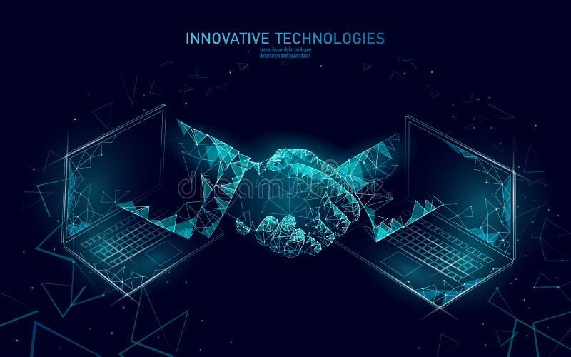 Τρισδιάστατη χειραψία επιχειρηματιών τεχνολογίας Διαδικτύου Έννοια συμβάσεων συμφωνίας επιχειρησιακής χρηματοδότησης Χαμηλός πολυ απεικόνιση αποθεμάτων