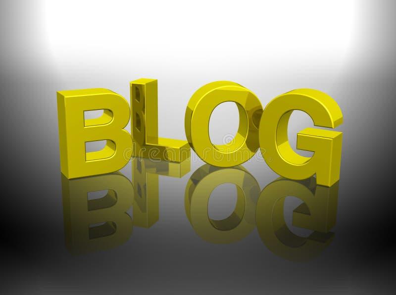 τρισδιάστατη χρυσή δίνοντας λέξη blog διανυσματική απεικόνιση