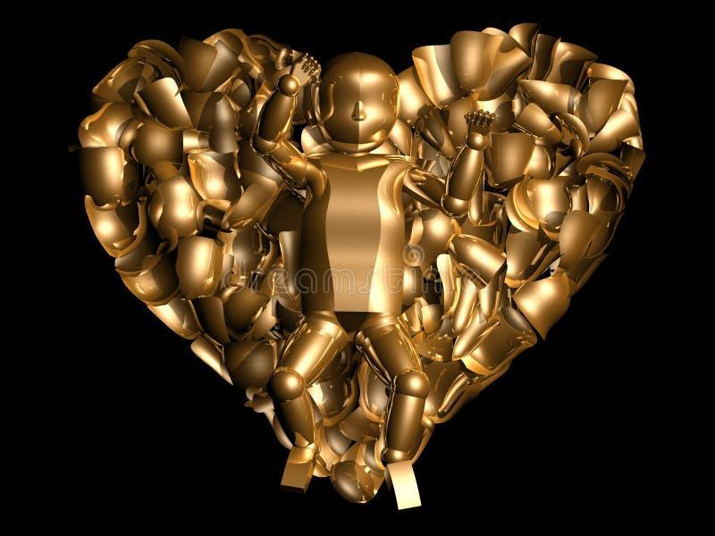 τρισδιάστατη χρυσή καρδιά & στοκ φωτογραφίες με δικαίωμα ελεύθερης χρήσης