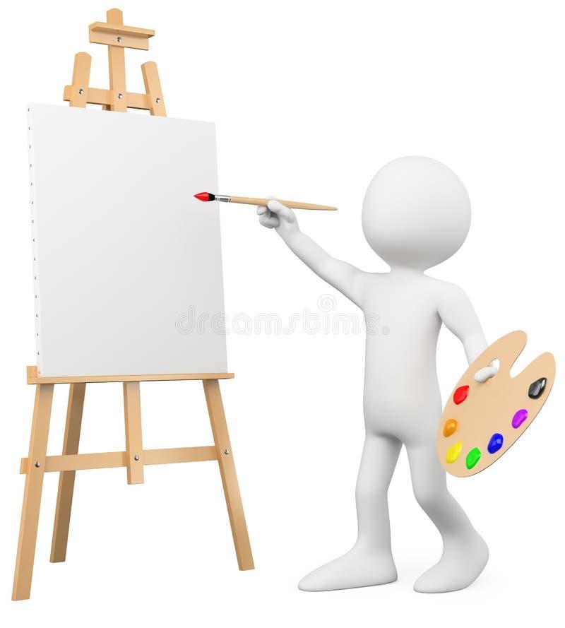 τρισδιάστατη easel καμβά καλλιτεχνών ζωγραφική ελεύθερη απεικόνιση δικαιώματος