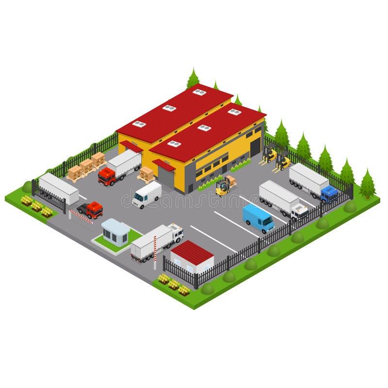 Τρισδιάστατη Isometric άποψη έννοιας αποθηκών εμπορευμάτων διάνυσμα απεικόνιση αποθεμάτων
