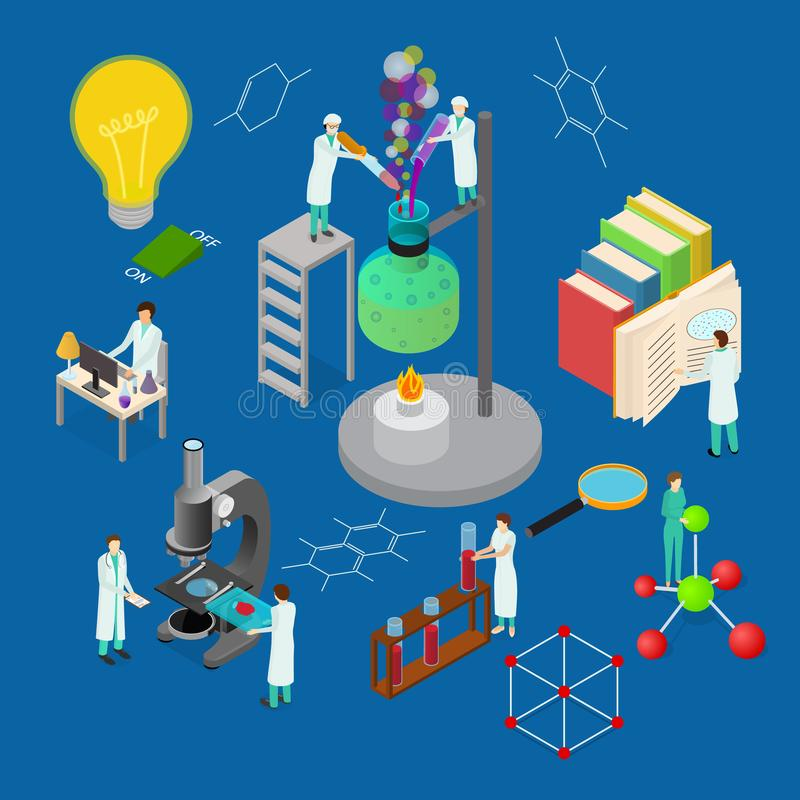 Τρισδιάστατη Isometric άποψη έννοιας επιστήμης χημική φαρμακευτική διάνυσμα απεικόνιση αποθεμάτων