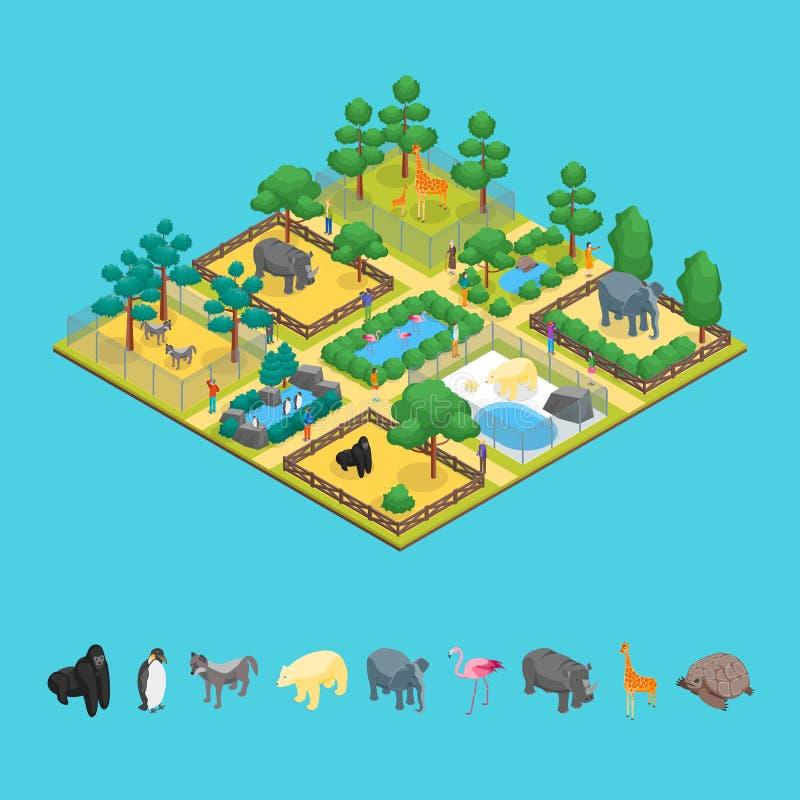 Τρισδιάστατη Isometric άποψη έννοιας ζωολογικών κήπων διάνυσμα ελεύθερη απεικόνιση δικαιώματος