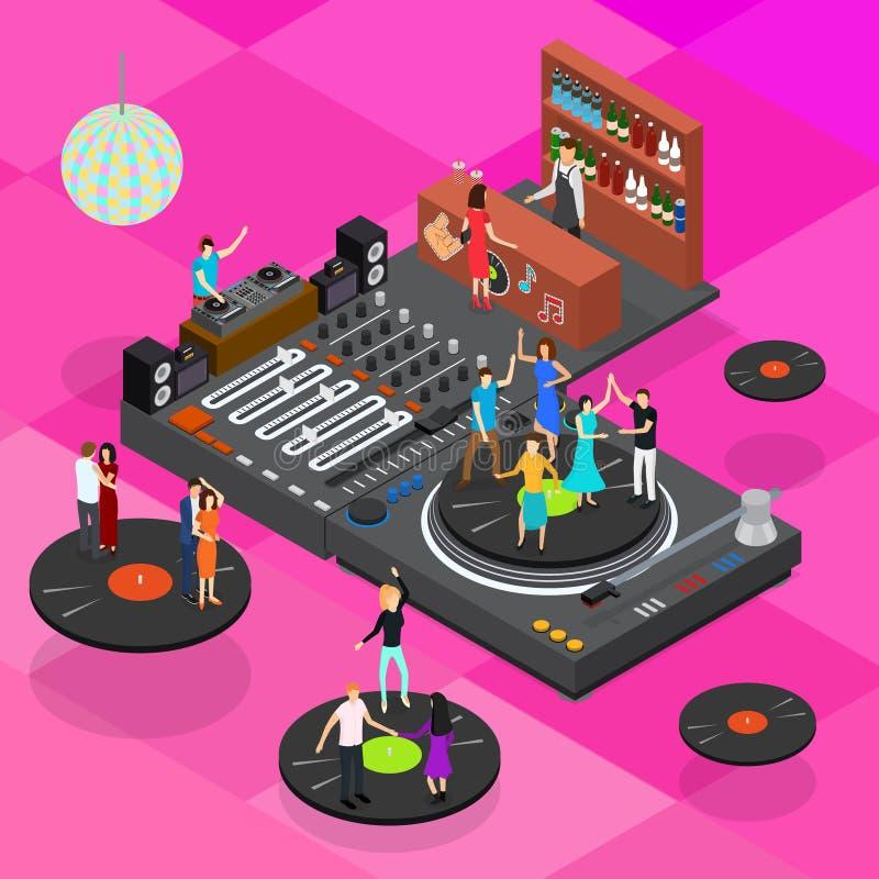 Τρισδιάστατη Isometric άποψη έννοιας φραγμών λεσχών του DJ διάνυσμα απεικόνιση αποθεμάτων