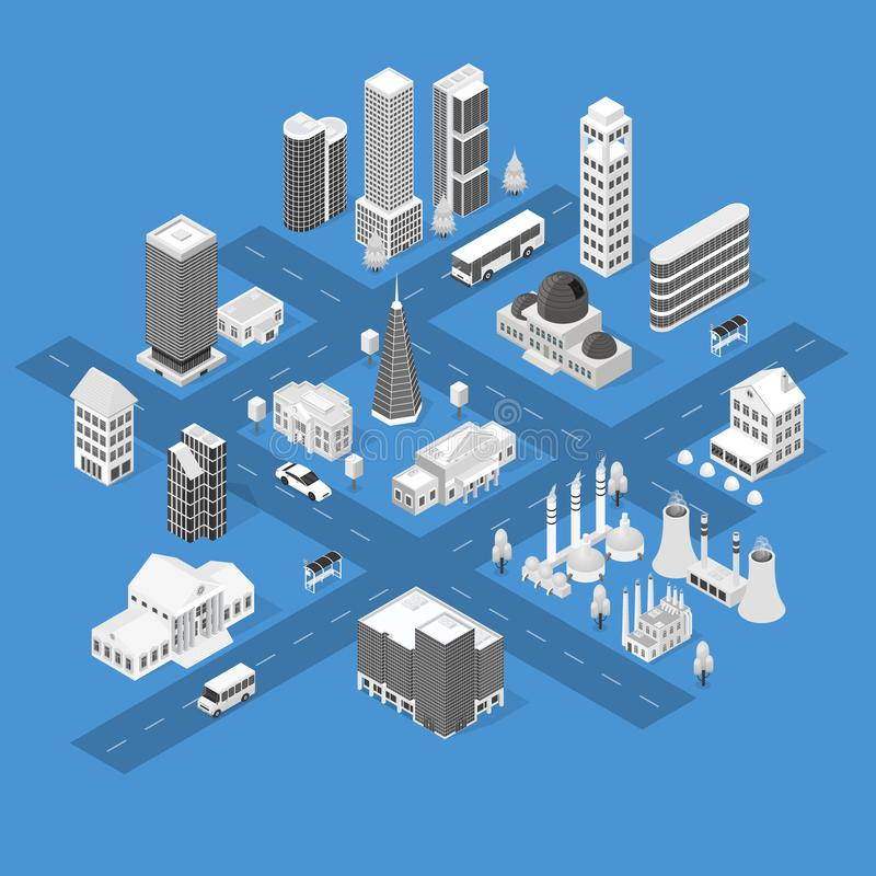 Τρισδιάστατη Isometric άποψη έννοιας χαρτών πόλεων διάνυσμα ελεύθερη απεικόνιση δικαιώματος