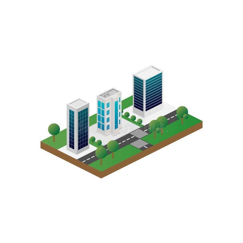 Τρισδιάστατη isometric τρισδιάστατη άποψη Megapolis της πόλης Συλλογή των σπιτιών, των ουρανοξυστών, των κτηρίων, που χτίζονται κ διανυσματική απεικόνιση