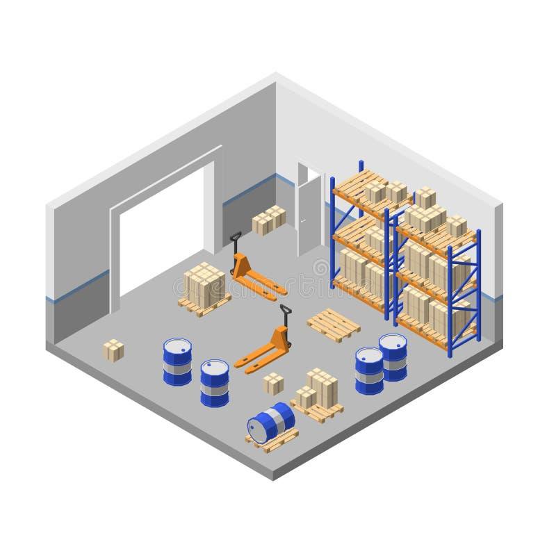 τρισδιάστατη isometric αποθήκευση, αποθήκη εμπορευμάτων εργοστασίων, αποθήκη ελεύθερη απεικόνιση δικαιώματος