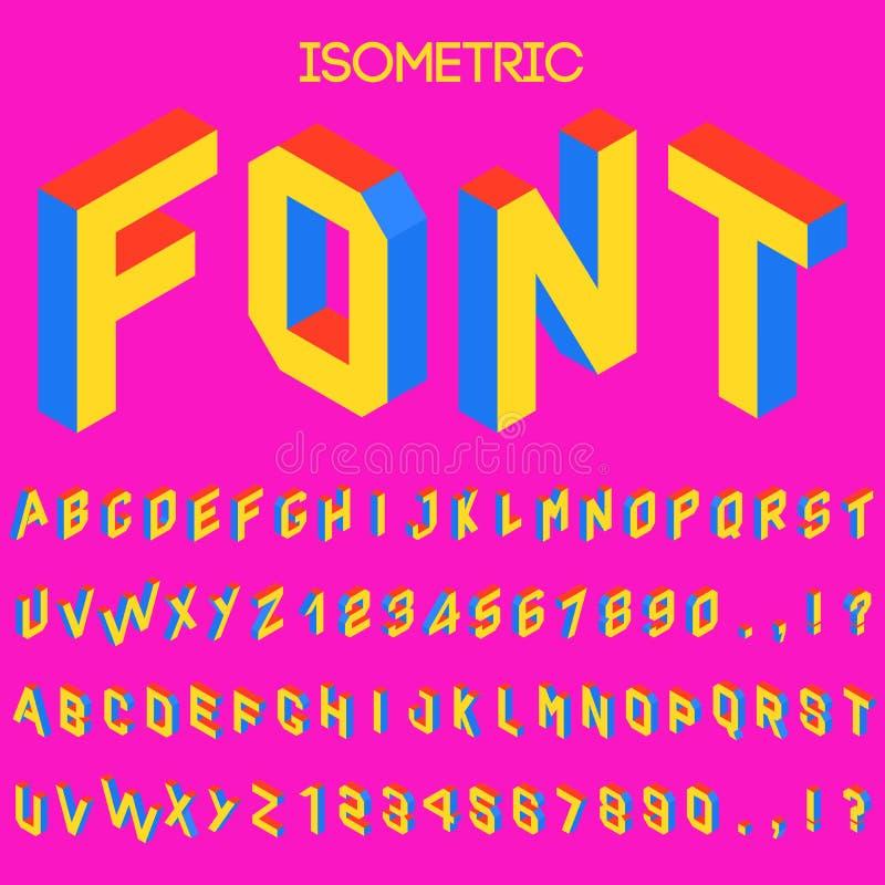 τρισδιάστατη isometric διανυσματική πηγή Isometric επιστολές, αριθμοί και σύμβολα Τρισδιάστατη διανυσματική τυπογραφία αποθεμάτων ελεύθερη απεικόνιση δικαιώματος