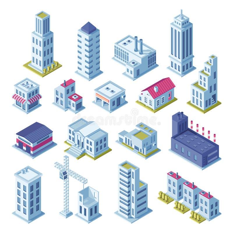 Τρισδιάστατη isometric προβολή κτηρίων πόλεων για το χάρτη Σπίτια, κατασκευασμένη περιοχή, αποθήκευση, οδοί και κτήριο ουρανοξυστ ελεύθερη απεικόνιση δικαιώματος