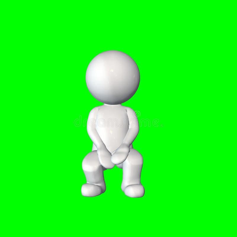 τρισδιάστατοι άνθρωποι - καθίστε 1 - πράσινη οθόνη διανυσματική απεικόνιση