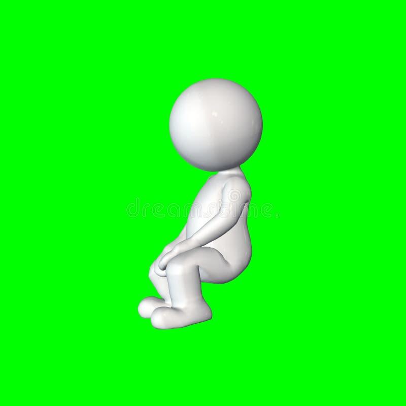 τρισδιάστατοι άνθρωποι - καθίστε 3 - πράσινη οθόνη ελεύθερη απεικόνιση δικαιώματος