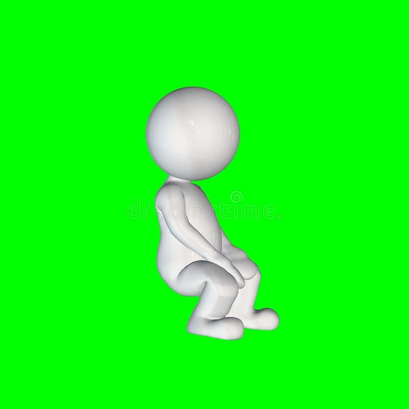 τρισδιάστατοι άνθρωποι - καθίστε 2 - πράσινη οθόνη διανυσματική απεικόνιση