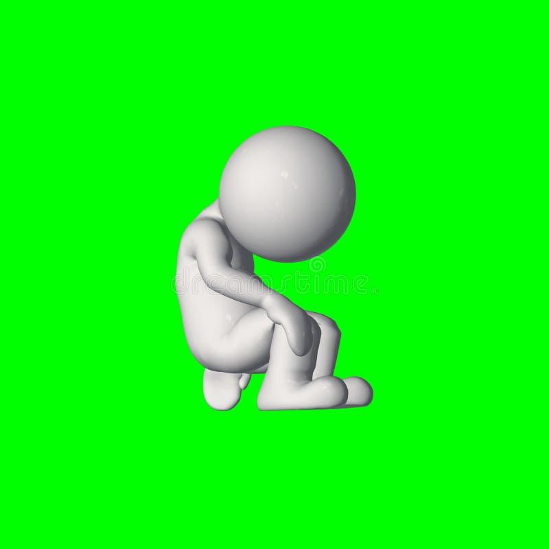 τρισδιάστατοι άνθρωποι - πιέστε 2 - πράσινη οθόνη ελεύθερη απεικόνιση δικαιώματος