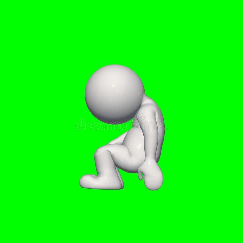 τρισδιάστατοι άνθρωποι - πιέστε 1 - πράσινη οθόνη διανυσματική απεικόνιση