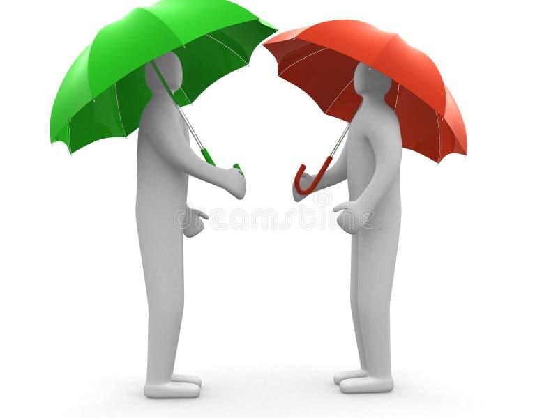 τρισδιάστατοι ανθρώπινοι άνθρωποι χαρακτήρα κάτω από την ομπρέλα στοκ εικόνα