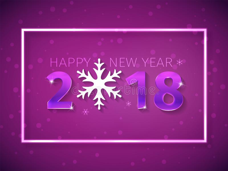 2018 τρισδιάστατοι αριθμοί καλής χρονιάς με την επίδραση πυράκτωσης στο πορφυρό υπόβαθρο με το μειωμένο χιόνι Σχέδιο κειμένων με  απεικόνιση αποθεμάτων