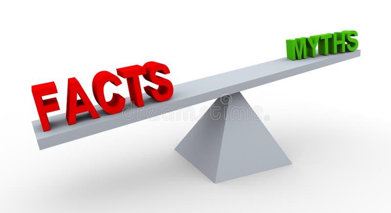 τρισδιάστατοι γεγονότα και μύθοι λέξης στην ισορροπία ελεύθερη απεικόνιση δικαιώματος