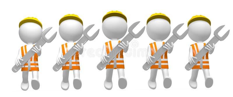τρισδιάστατοι εργάτες με τα γαλλικά κλειδιά διανυσματική απεικόνιση