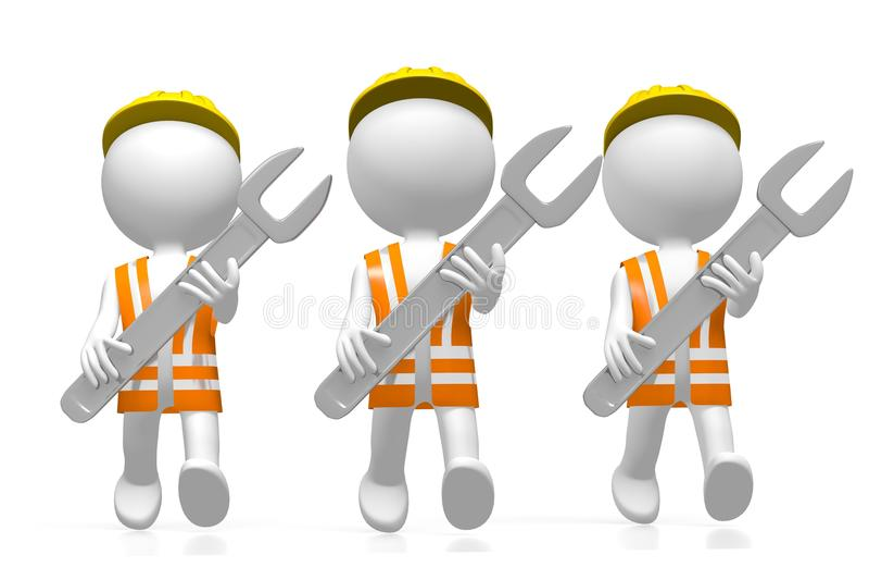 τρισδιάστατοι εργάτες με τα γαλλικά κλειδιά ελεύθερη απεικόνιση δικαιώματος