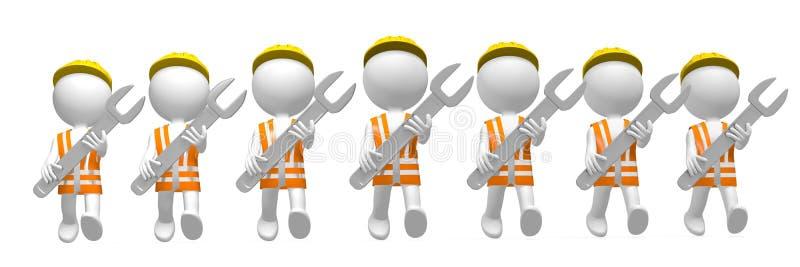 τρισδιάστατοι εργάτες με τα γαλλικά κλειδιά απεικόνιση αποθεμάτων
