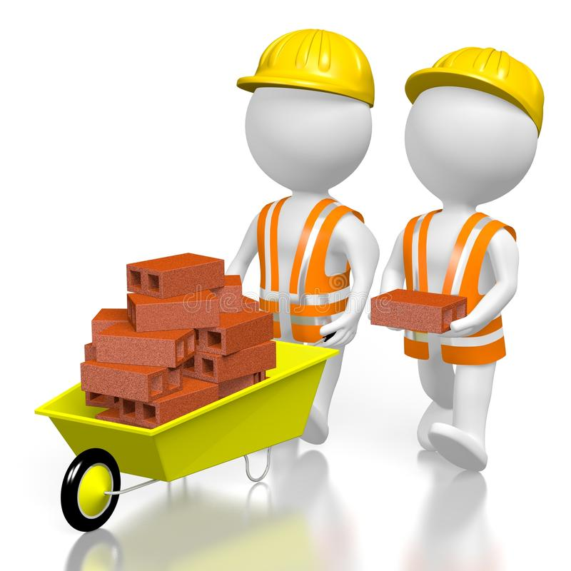 τρισδιάστατοι εργάτες με τα τούβλα ελεύθερη απεικόνιση δικαιώματος