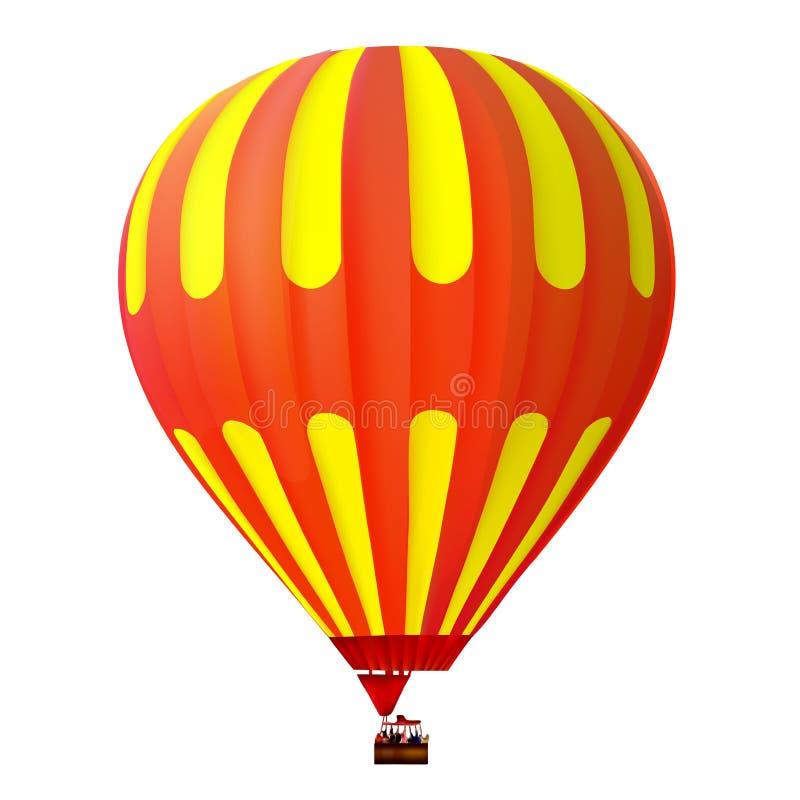 τρισδιάστατοι κίτρινος και κόκκινο - μπαλόνι ζεστού αέρα στοκ εικόνα