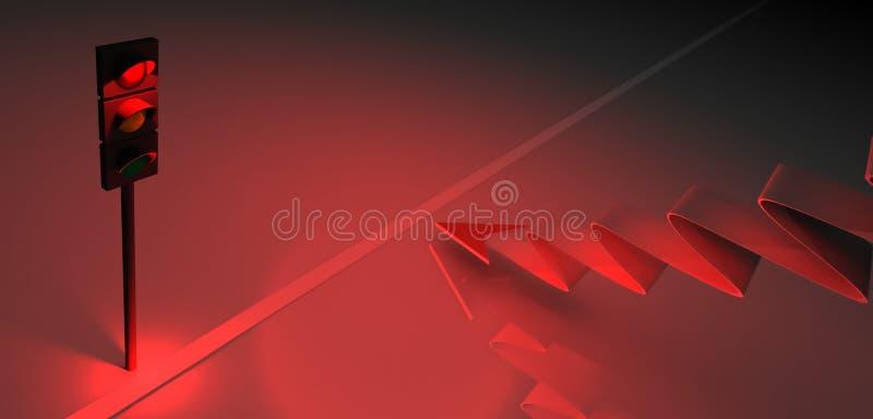 Download τρισδιάστατοι κόκκινοι φωτεινός σηματοδότης και βέλος Απεικόνιση αποθεμάτων - εικονογραφία από φωτισμένος, κίνδυνος: 22789888