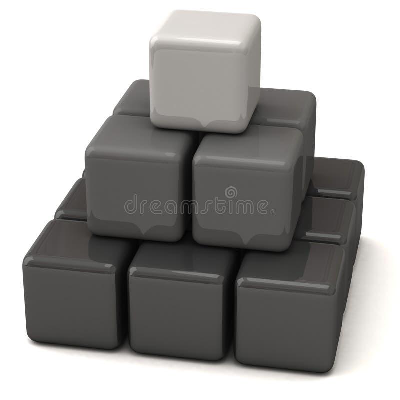 τρισδιάστατοι κύβοι που γίνονται την πυραμίδα διανυσματική απεικόνιση