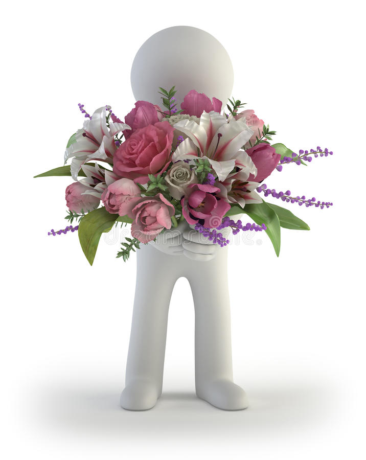 τρισδιάστατοι μικροί άνθρωποι - ανθοδέσμη των λουλουδιών ελεύθερη απεικόνιση δικαιώματος