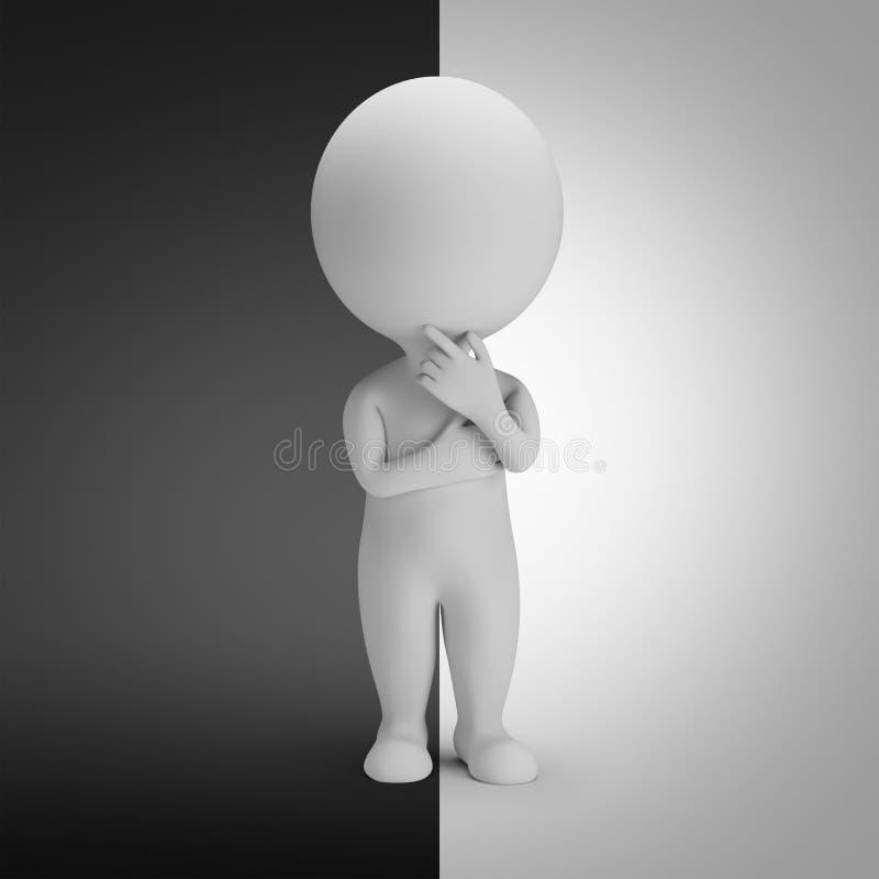 τρισδιάστατοι μικροί άνθρωποι - θετικοί ή αρνητικοί διανυσματική απεικόνιση
