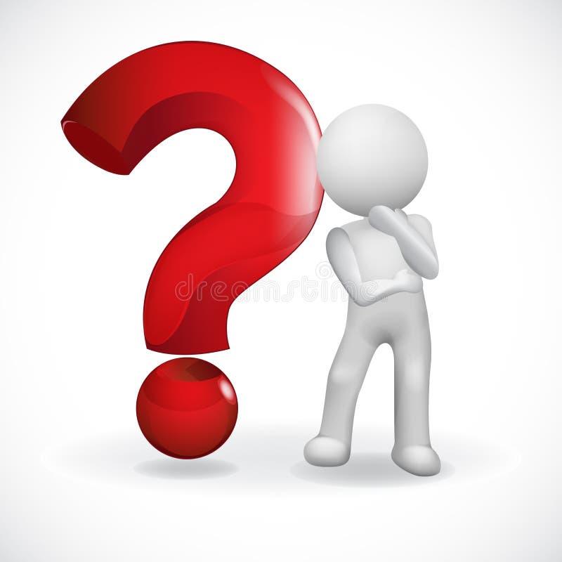 Τρισδιάστατοι μικροί άνθρωποι λογότυπων με ένα κόκκινο ερωτηματικό διανυσματική απεικόνιση