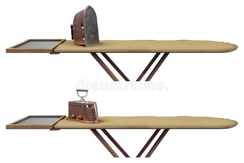 τρισδιάστατοι πολλαπλάσιοι πυροβολισμοί απόδοσης του παλαιού σκουριασμένου σιδήρου άνθρακα με μια ξύλινη λαβή στο σιδέρωμα του πί απεικόνιση αποθεμάτων