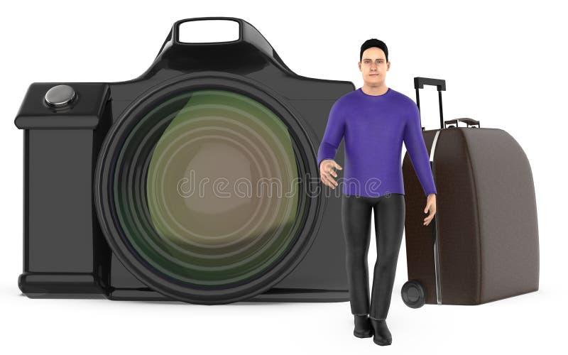 τρισδιάστατοι χαρακτήρας, άτομο, τσάντα αποσκευών και κάμερα ελεύθερη απεικόνιση δικαιώματος