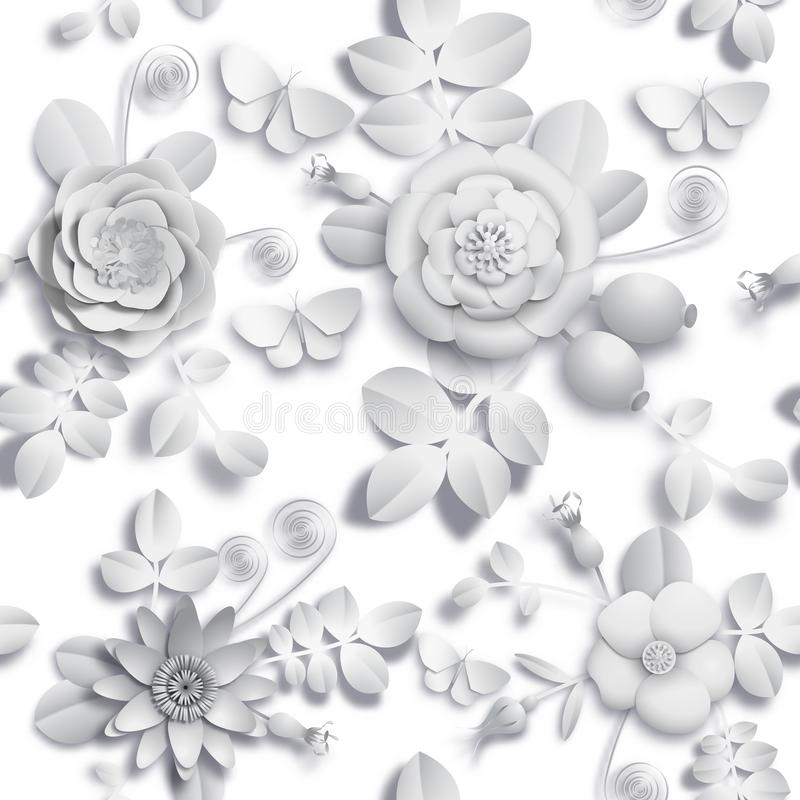 Τρισδιάστατος άγριος τεχνών εγγράφου αυξήθηκε λουλούδια, rosehip μούρα και άνευ ραφής σχέδιο πεταλούδων Διανυσματική εικόνα αποθε ελεύθερη απεικόνιση δικαιώματος